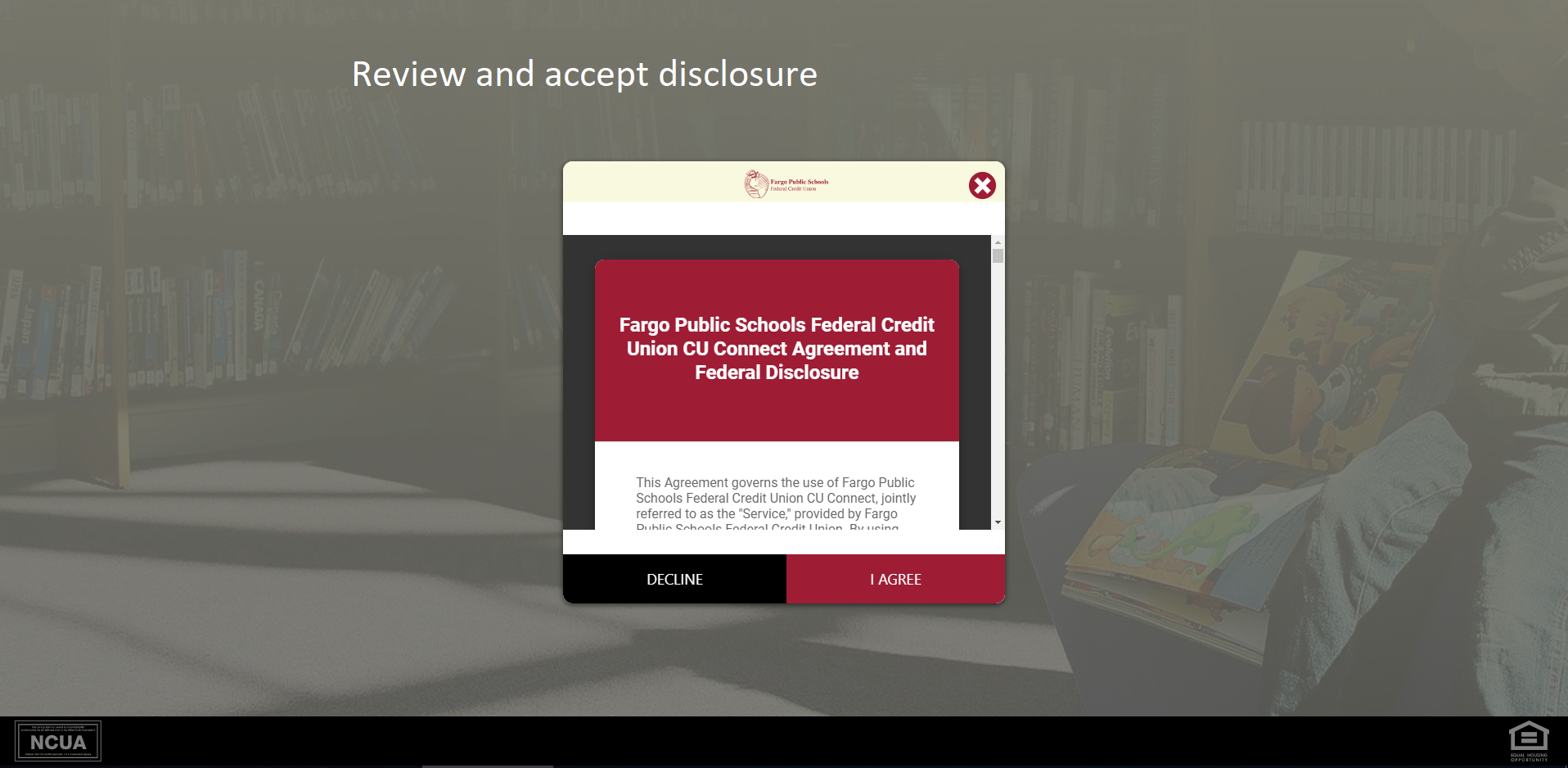 Screen shot of FPSFCU Disclosure agreement page - Review and accept disclosure.