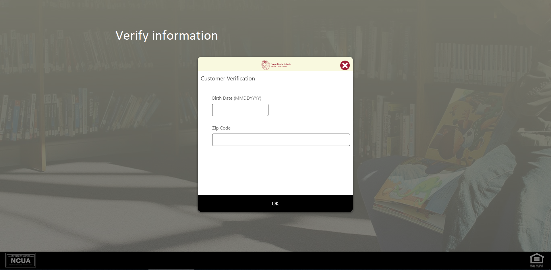 Screen shot of information verification screen - Verify your information