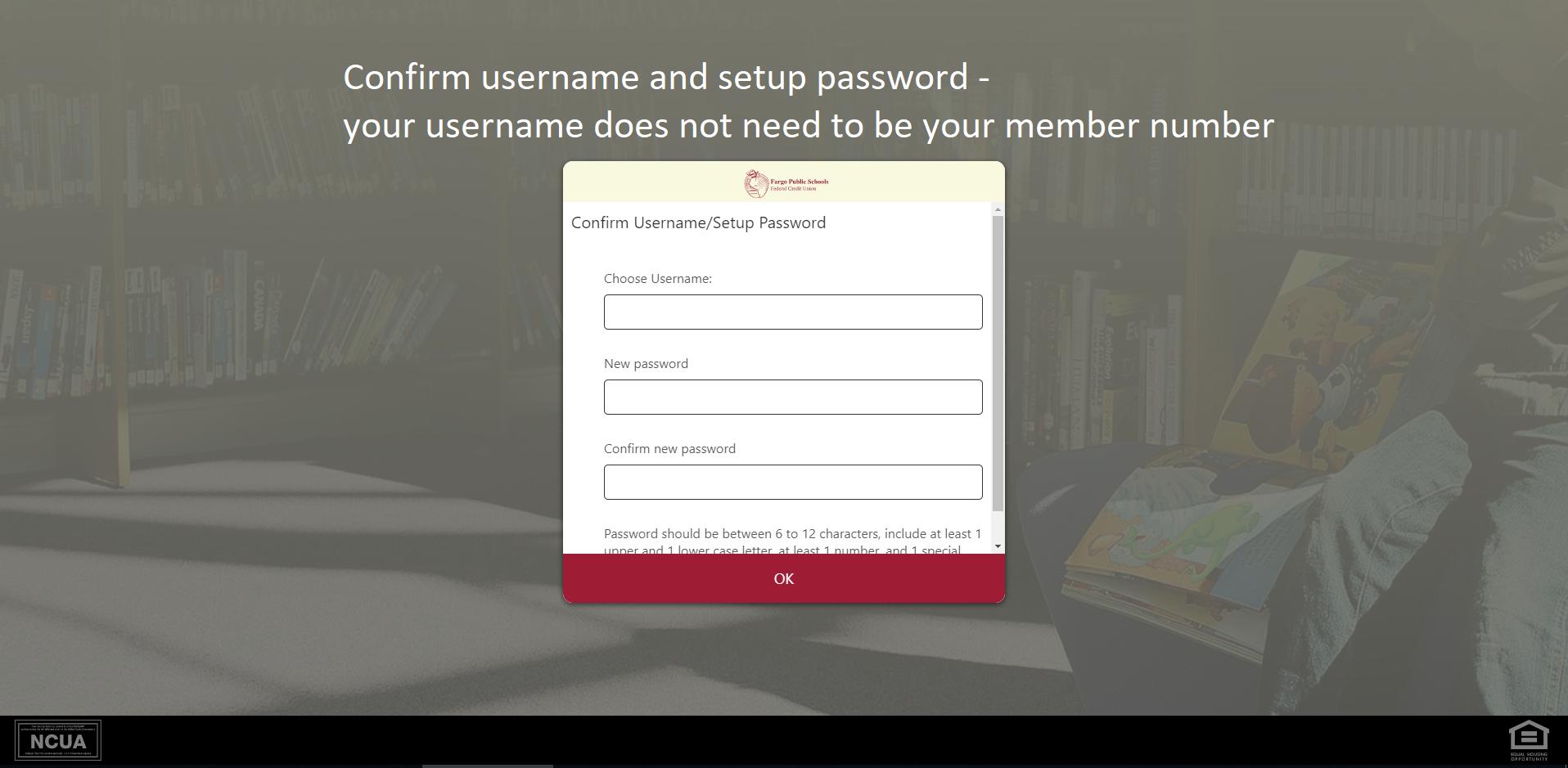 Screen shot of confirm username and set up password screen - Confirm username and set up password.